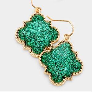 Glitter Quatrefoil Earrings